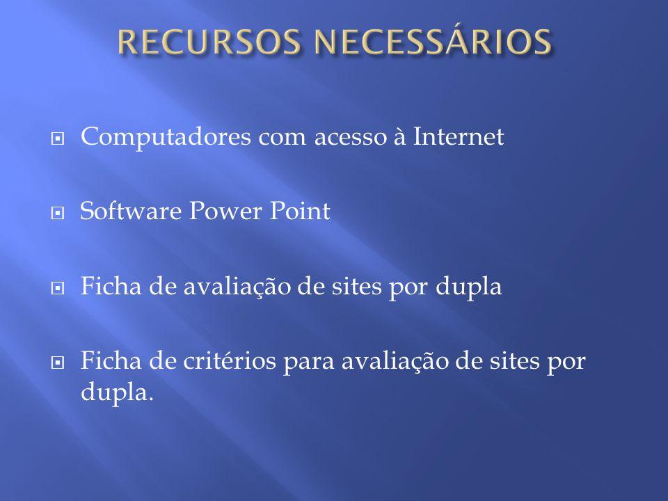 RECURSOS NECESSÁRIOS Computadores com acesso à Internet
