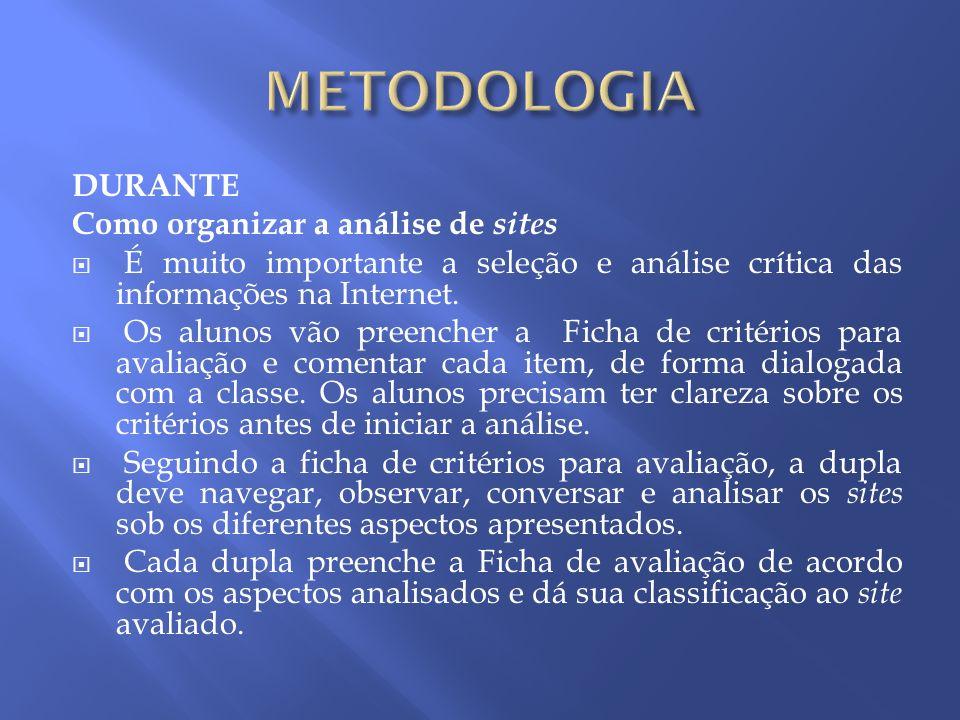 METODOLOGIA DURANTE Como organizar a análise de sites