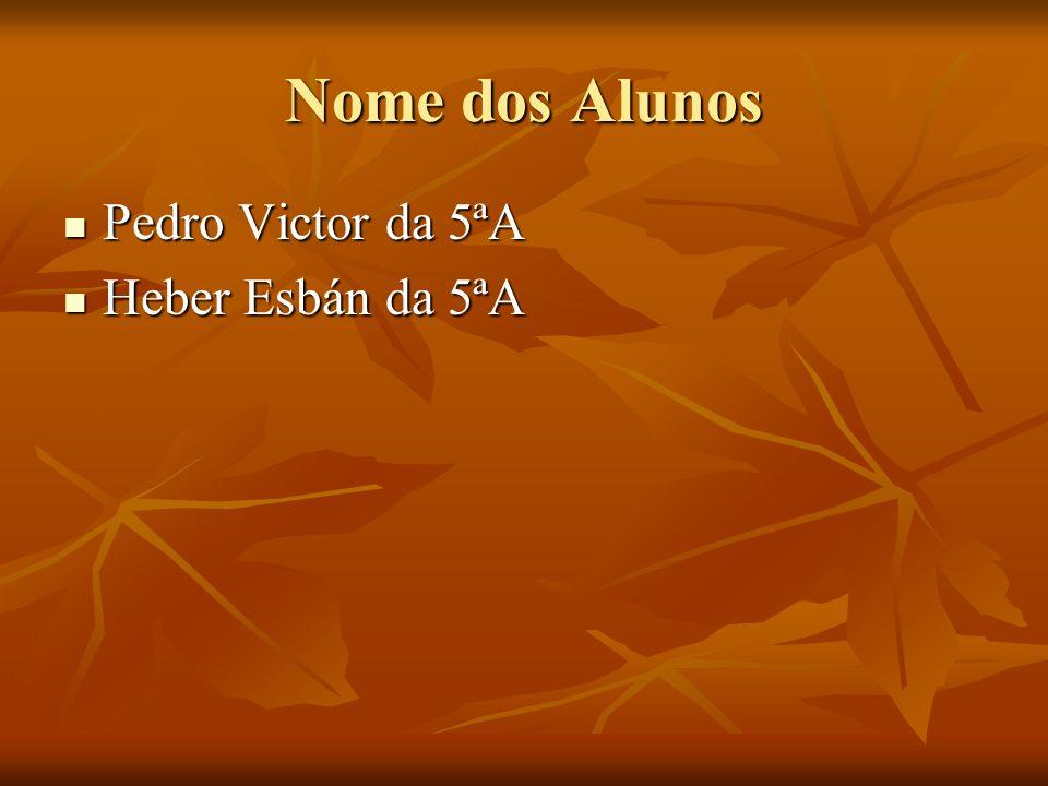 Nome dos Alunos Pedro Victor da 5ªA Heber Esbán da 5ªA