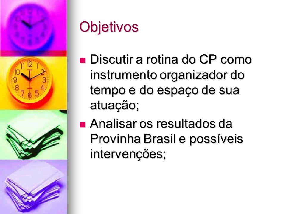 Objetivos Discutir a rotina do CP como instrumento organizador do tempo e do espaço de sua atuação;