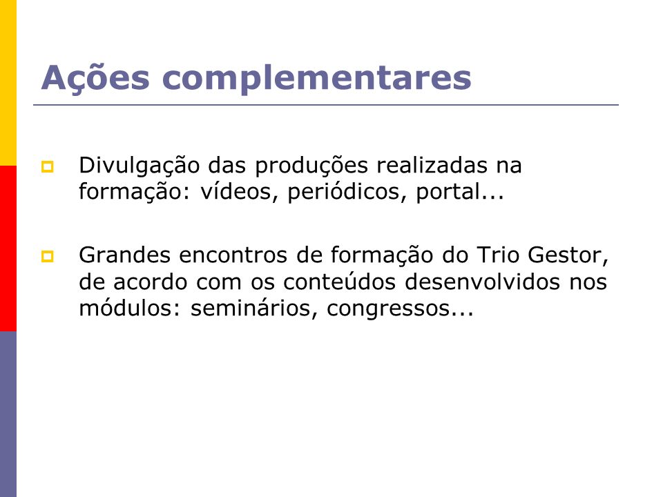 Ações complementares Divulgação das produções realizadas na formação: vídeos, periódicos, portal...