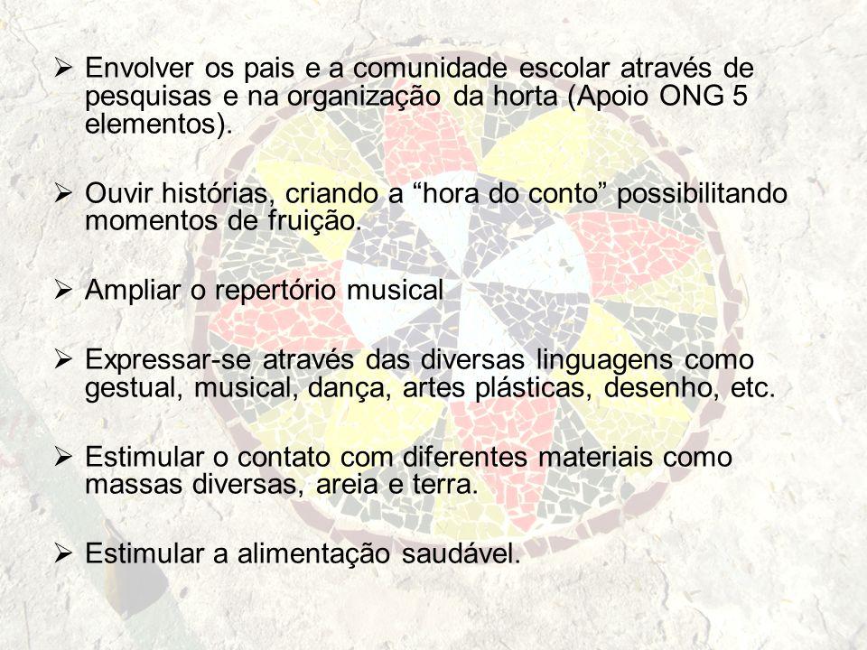 Envolver os pais e a comunidade escolar através de pesquisas e na organização da horta (Apoio ONG 5 elementos).