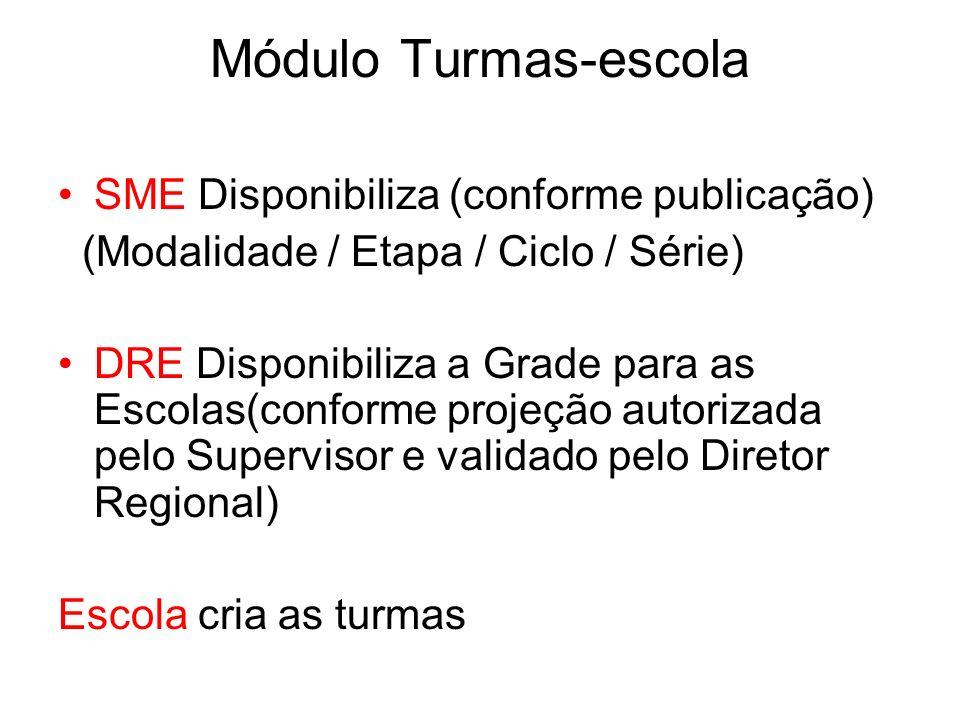Módulo Turmas-escola SME Disponibiliza (conforme publicação)