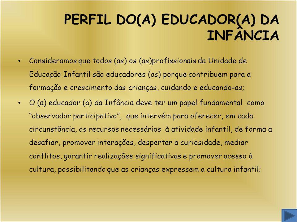 PERFIL DO(A) EDUCADOR(A) DA INFÂNCIA
