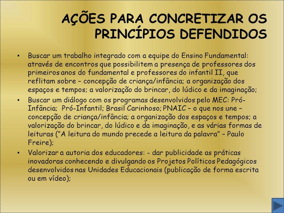 AÇÕES PARA CONCRETIZAR OS PRINCÍPIOS DEFENDIDOS