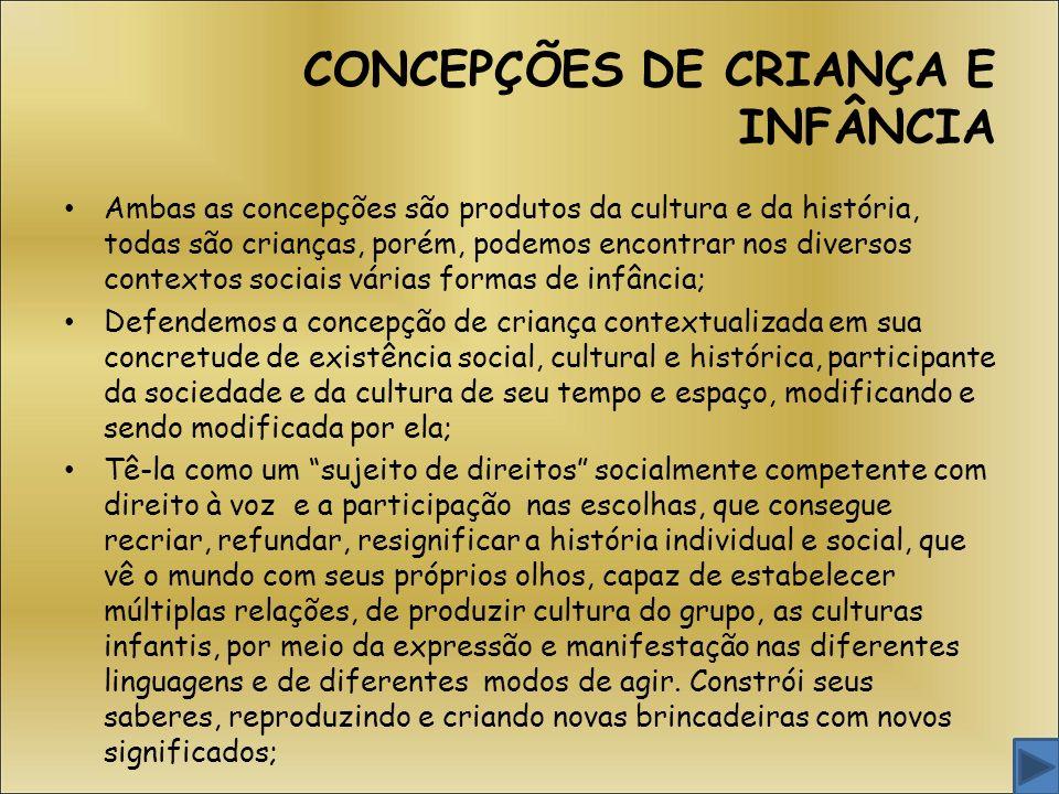 CONCEPÇÕES DE CRIANÇA E INFÂNCIA