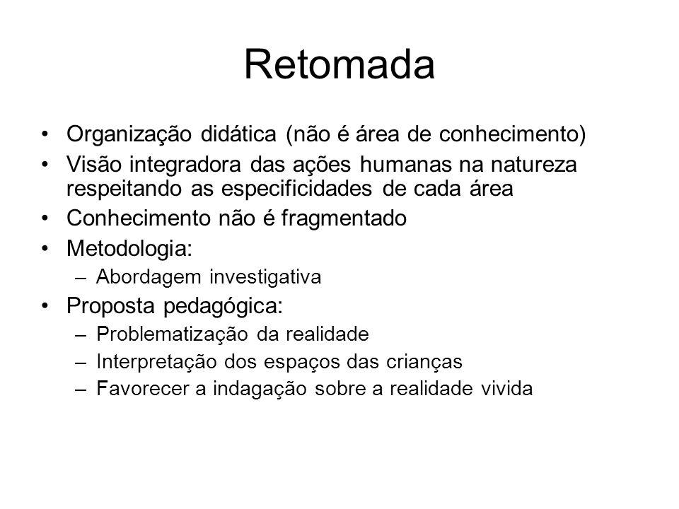 Retomada Organização didática (não é área de conhecimento)