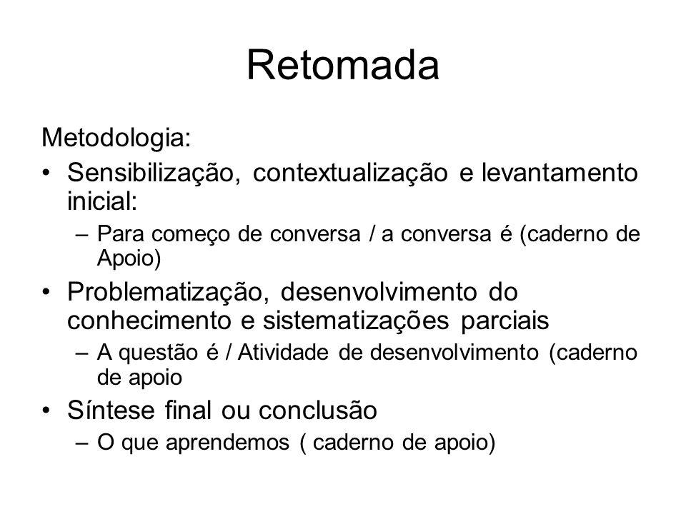 Retomada Metodologia: