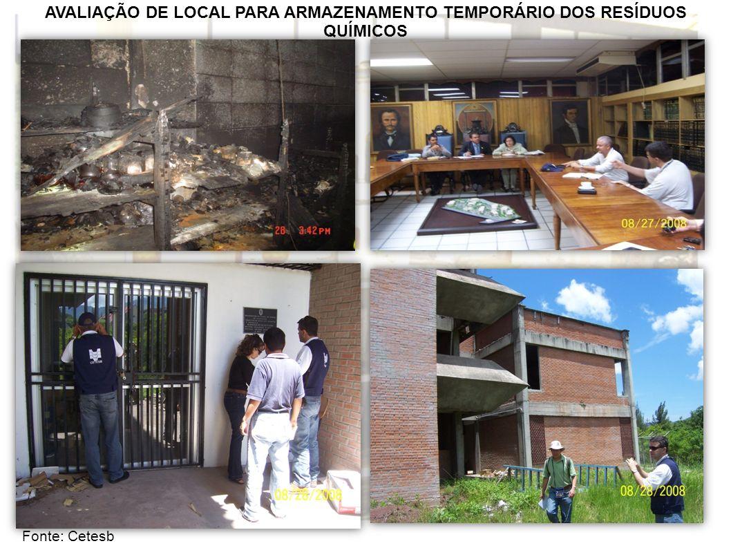AVALIAÇÃO DE LOCAL PARA ARMAZENAMENTO TEMPORÁRIO DOS RESÍDUOS QUÍMICOS