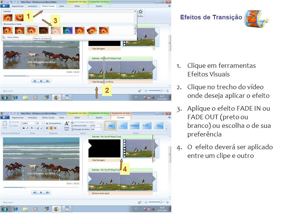 Clique em ferramentas Efeitos Visuais