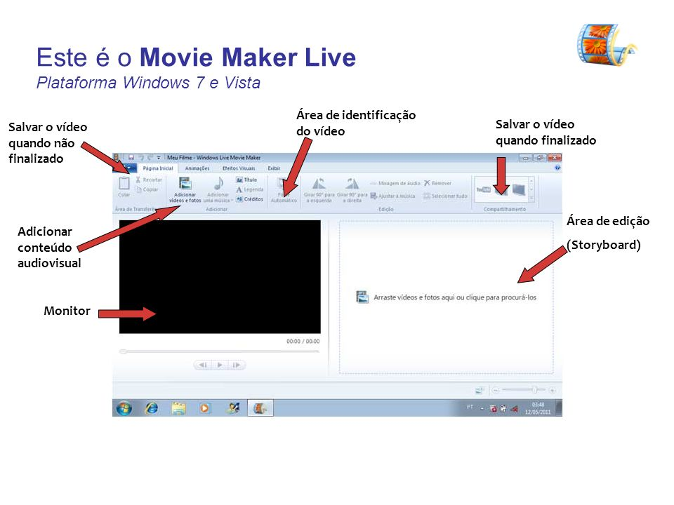 Este é o Movie Maker Live Plataforma Windows 7 e Vista