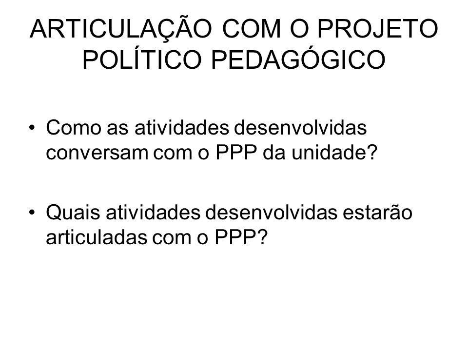 ARTICULAÇÃO COM O PROJETO POLÍTICO PEDAGÓGICO