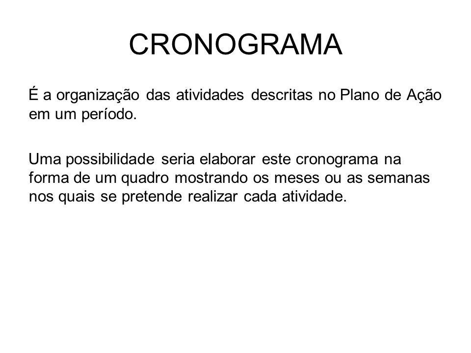 CRONOGRAMA É a organização das atividades descritas no Plano de Ação em um período.