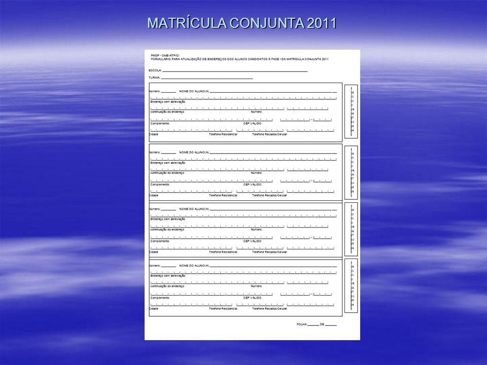 MATRÍCULA CONJUNTA 2011