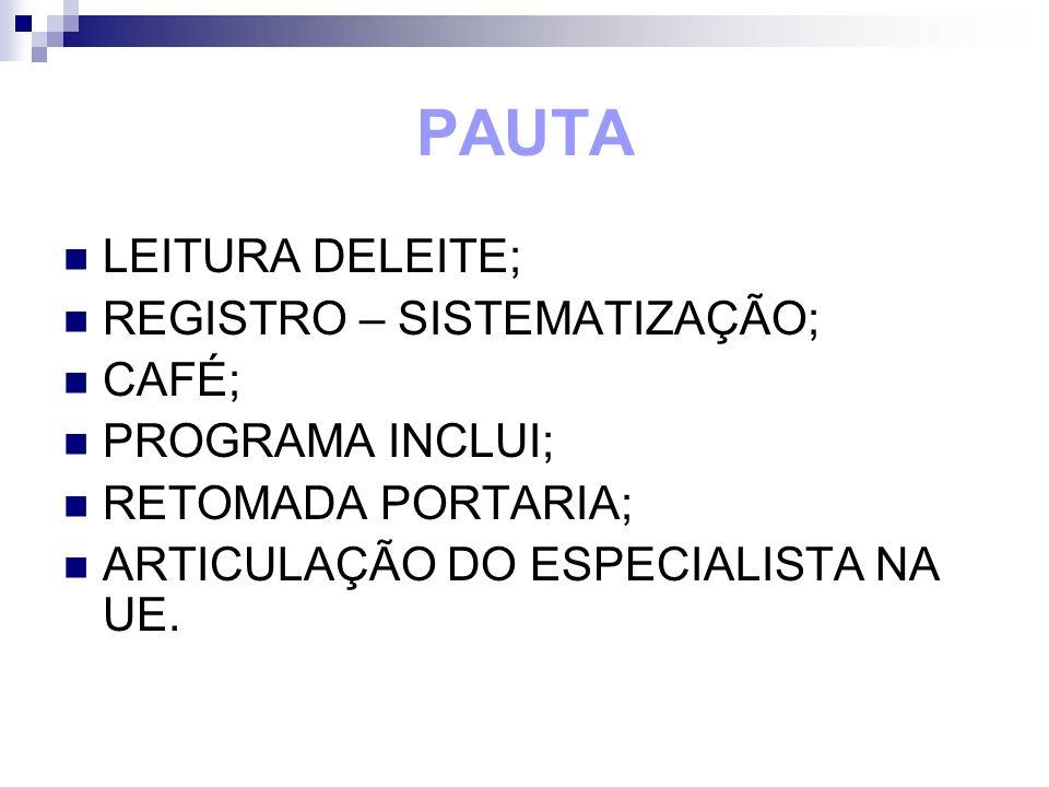 PAUTA LEITURA DELEITE; REGISTRO – SISTEMATIZAÇÃO; CAFÉ;