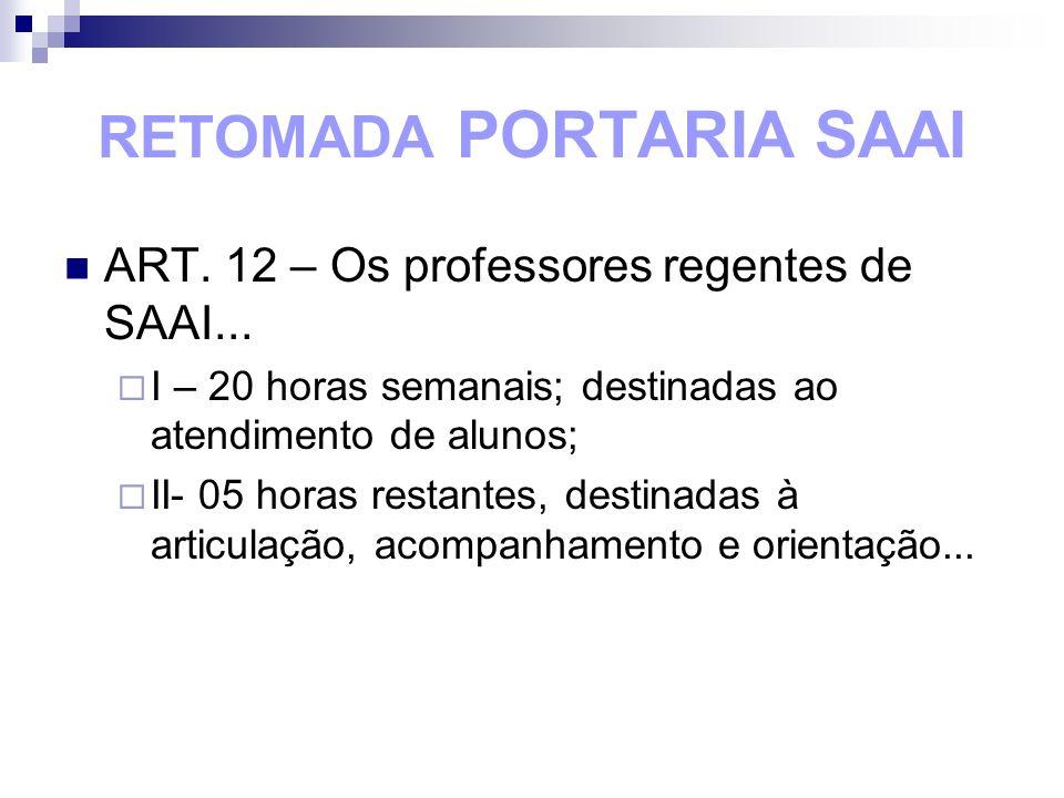 RETOMADA PORTARIA SAAI