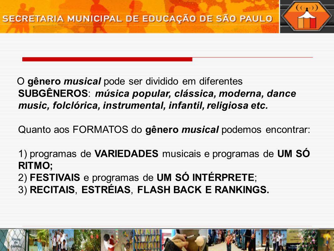 O gênero musical pode ser dividido em diferentes SUBGÊNEROS: música popular, clássica, moderna, dance music, folclórica, instrumental, infantil, religiosa etc.
