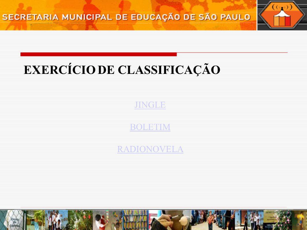 EXERCÍCIO DE CLASSIFICAÇÃO
