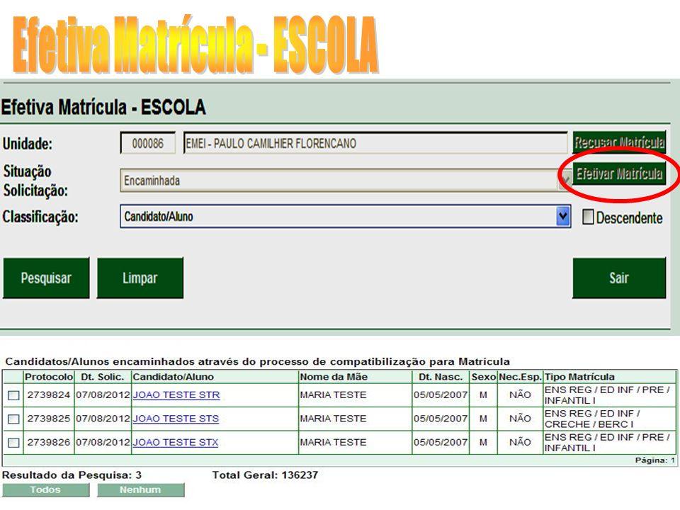Efetiva Matrícula - ESCOLA