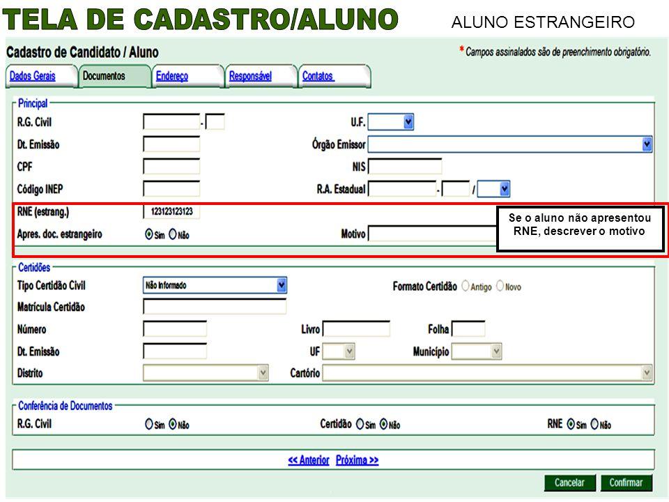TELA DE CADASTRO/ALUNO