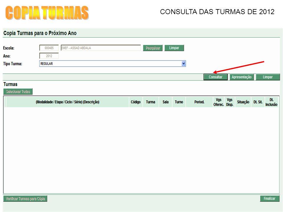 COPIA TURMAS CONSULTA DAS TURMAS DE 2012