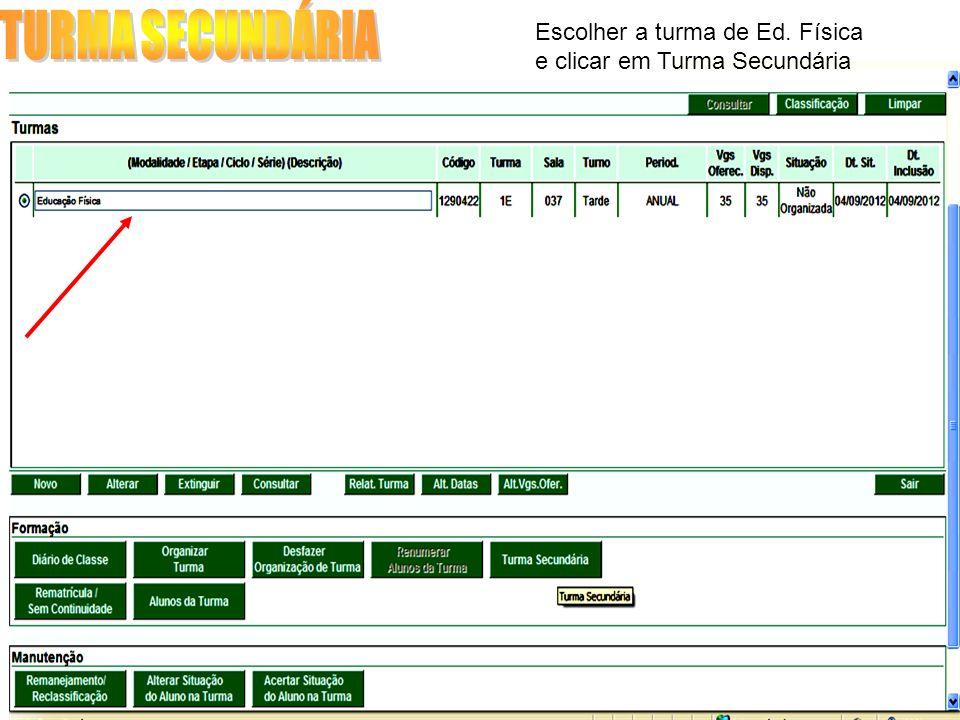 TURMA SECUNDÁRIA Escolher a turma de Ed. Física e clicar em Turma Secundária