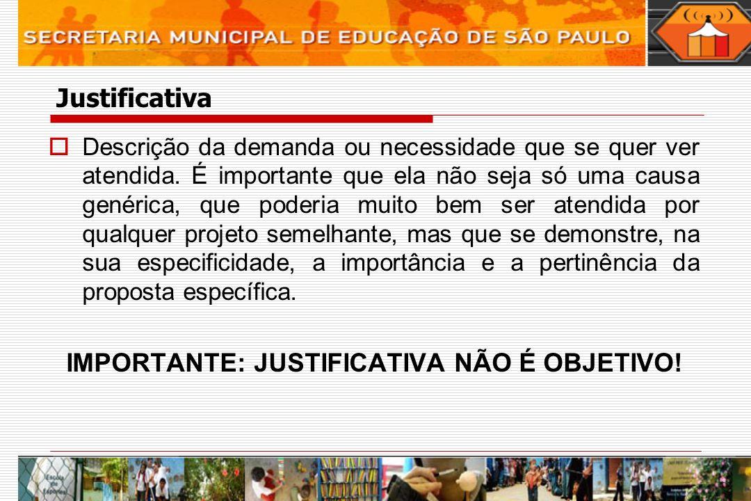IMPORTANTE: JUSTIFICATIVA NÃO É OBJETIVO!