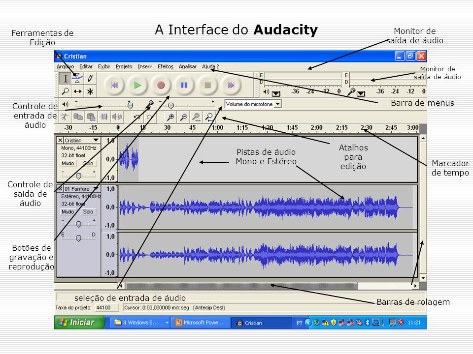A Interface do Audacity