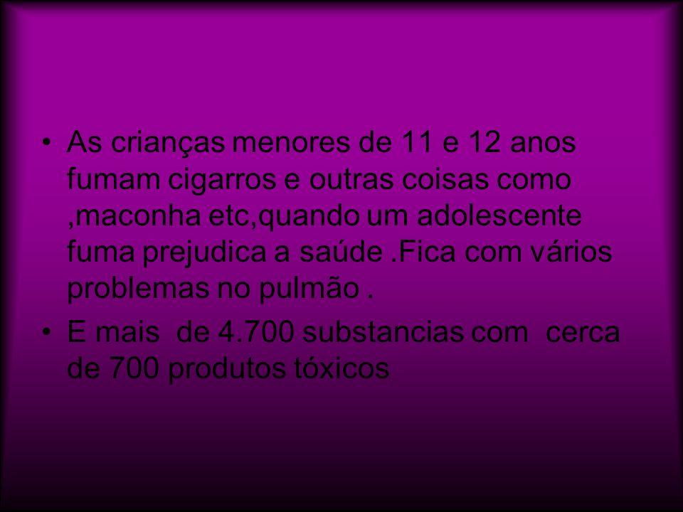 As crianças menores de 11 e 12 anos fumam cigarros e outras coisas como ,maconha etc,quando um adolescente fuma prejudica a saúde .Fica com vários problemas no pulmão .