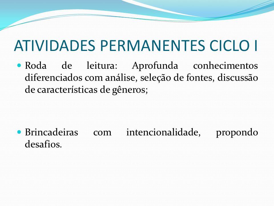 ATIVIDADES PERMANENTES CICLO I