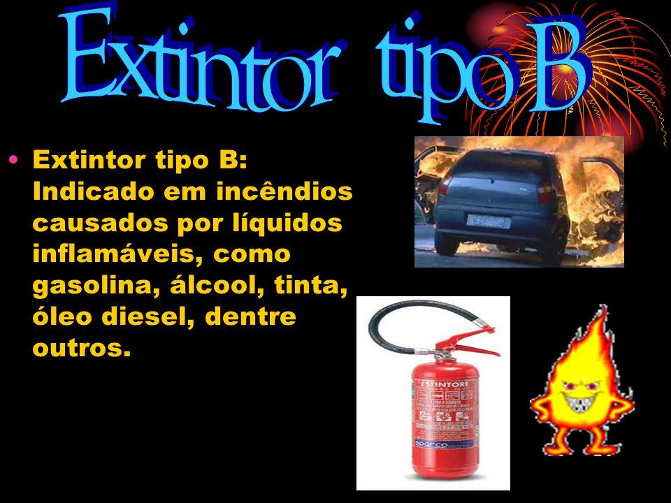 Extintor tipo B Extintor tipo B: Indicado em incêndios causados por líquidos inflamáveis, como gasolina, álcool, tinta, óleo diesel, dentre outros.