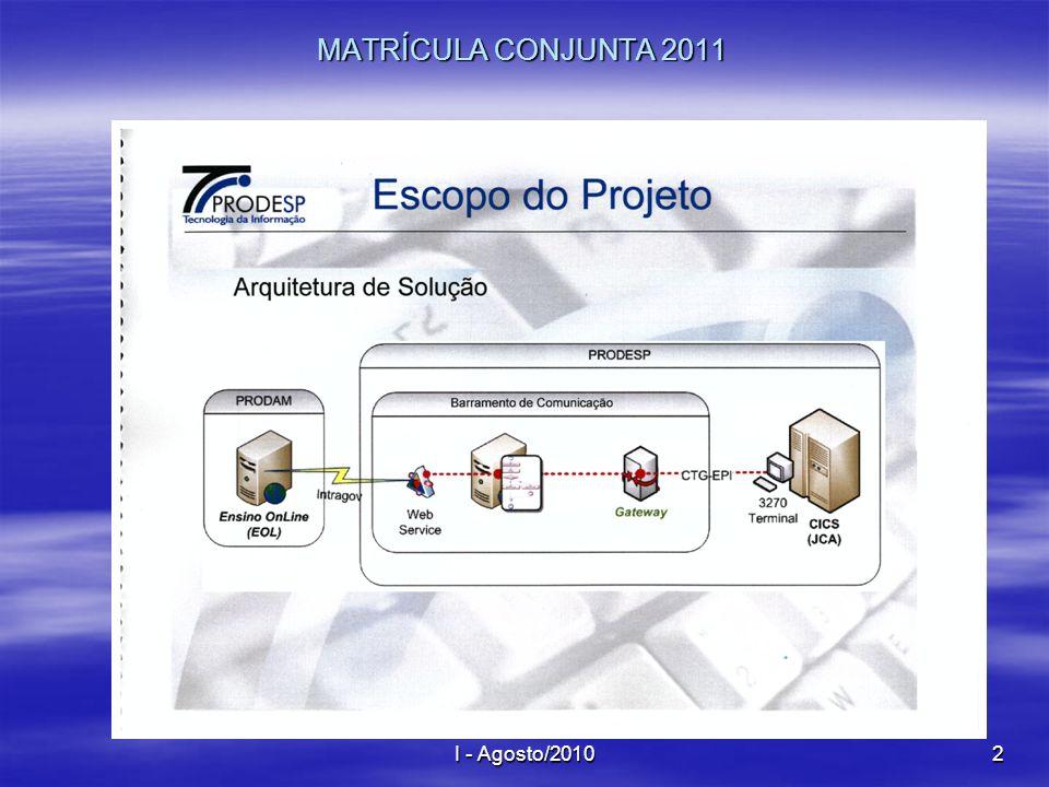 MATRÍCULA CONJUNTA 2011 I - Agosto/2010