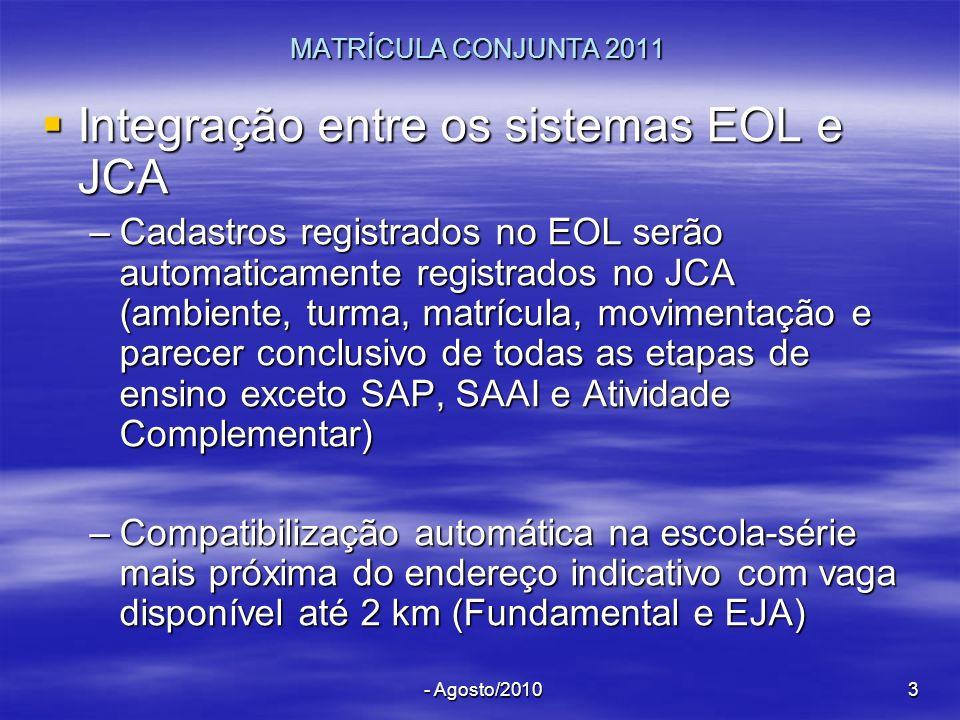 Integração entre os sistemas EOL e JCA