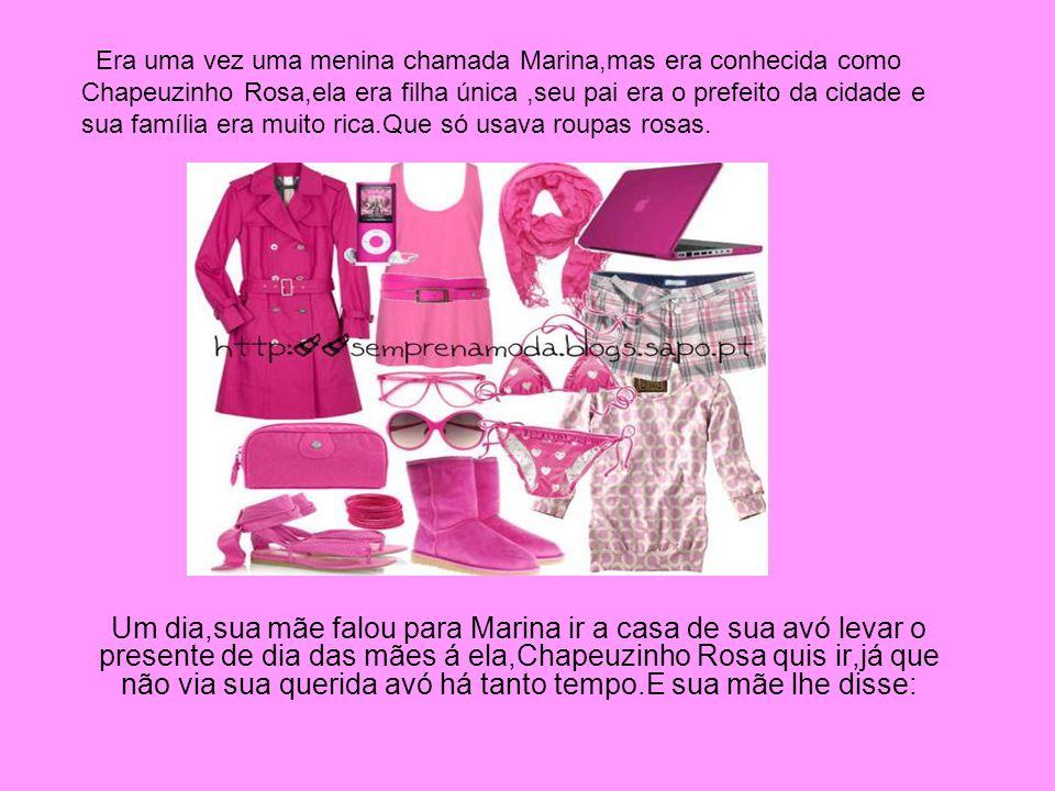 Era uma vez uma menina chamada Marina,mas era conhecida como Chapeuzinho Rosa,ela era filha única ,seu pai era o prefeito da cidade e sua família era muito rica.Que só usava roupas rosas.