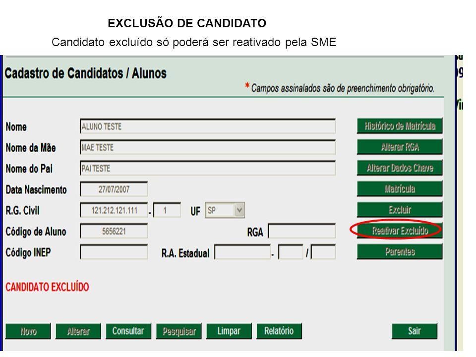 EXCLUSÃO DE CANDIDATO Candidato excluído só poderá ser reativado pela SME