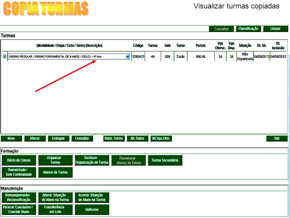 COPIA TURMAS Visualizar turmas copiadas