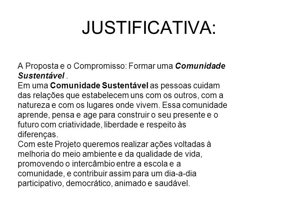 JUSTIFICATIVA: A Proposta e o Compromisso: Formar uma Comunidade