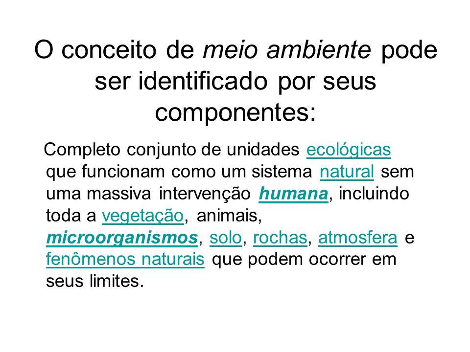O conceito de meio ambiente pode ser identificado por seus componentes: