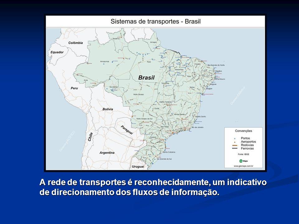 A rede de transportes é reconhecidamente, um indicativo de direcionamento dos fluxos de informação.