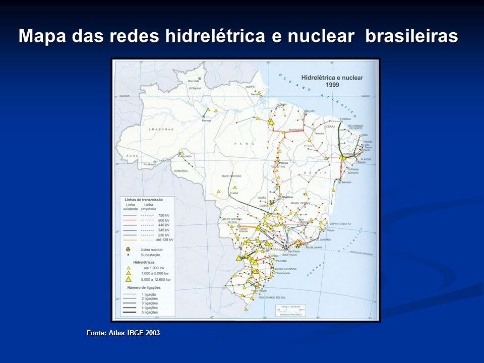 Mapa das redes hidrelétrica e nuclear brasileiras