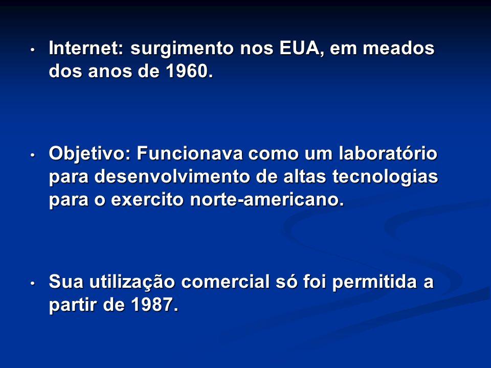 Internet: surgimento nos EUA, em meados dos anos de 1960.