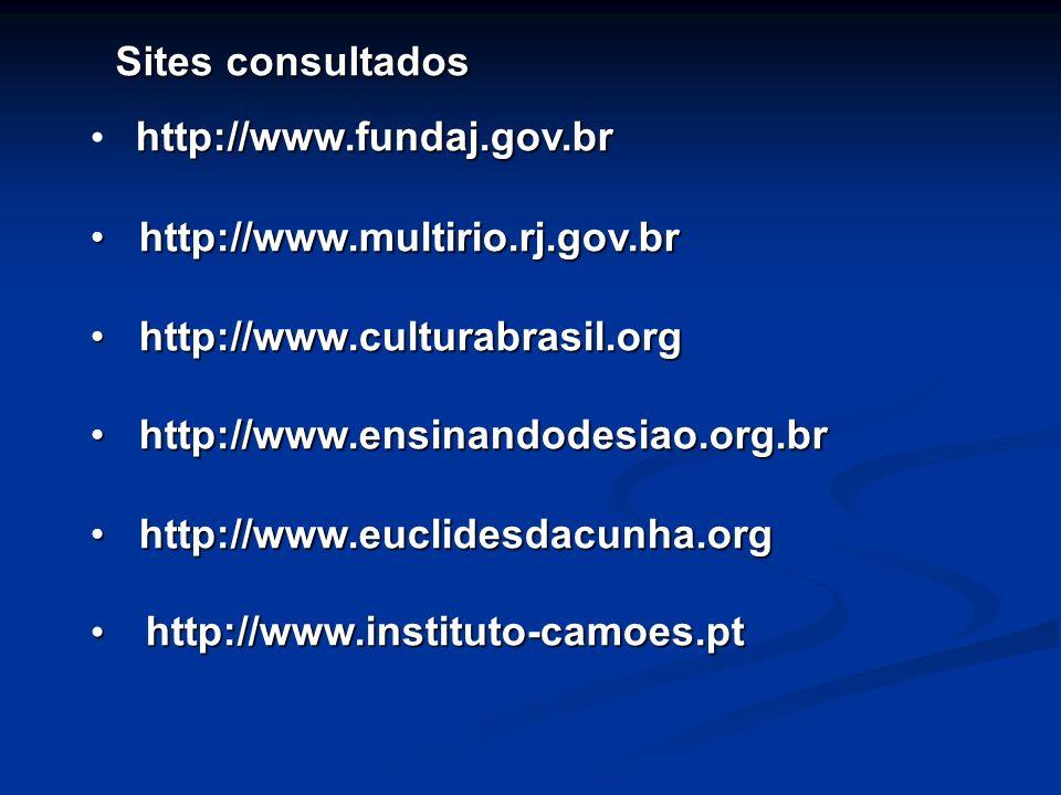 Sites consultados http://www.fundaj.gov.br. http://www.multirio.rj.gov.br. http://www.culturabrasil.org.