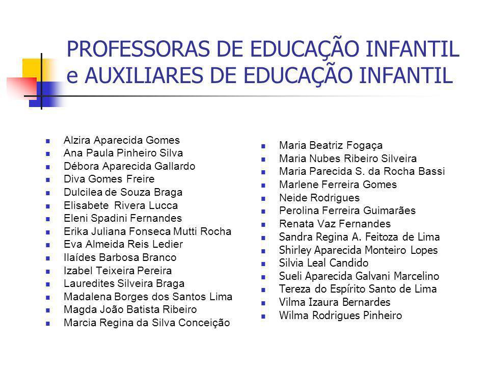 PROFESSORAS DE EDUCAÇÃO INFANTIL e AUXILIARES DE EDUCAÇÃO INFANTIL