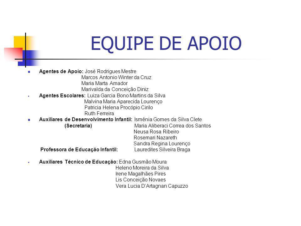 EQUIPE DE APOIO Agentes de Apoio: José Rodrigues Mestre