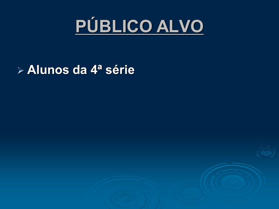PÚBLICO ALVO Alunos da 4ª série