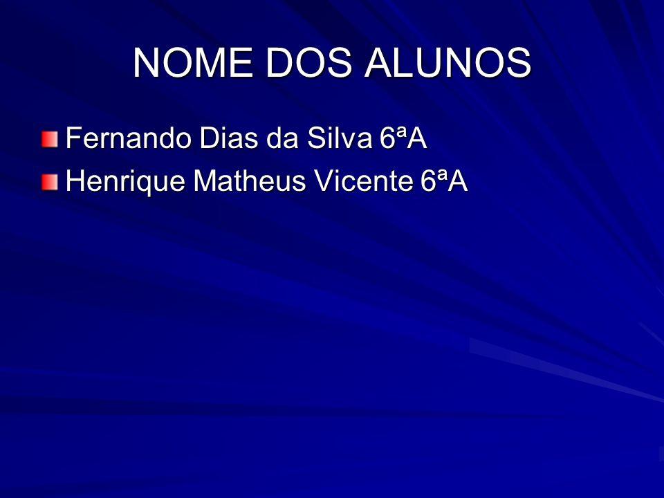 NOME DOS ALUNOS Fernando Dias da Silva 6ªA