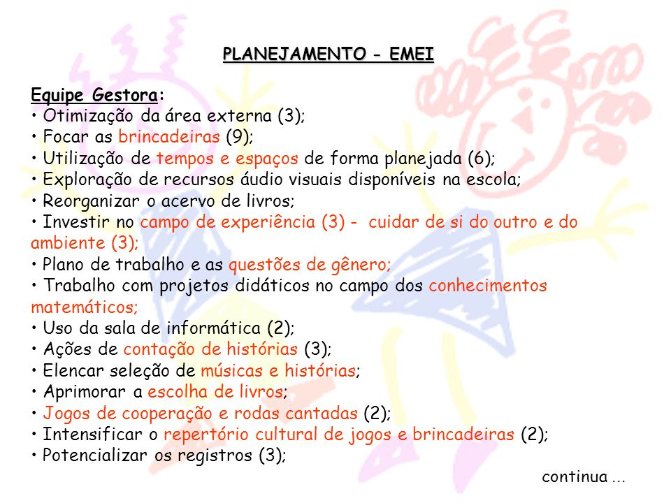Otimização da área externa (3); Focar as brincadeiras (9);
