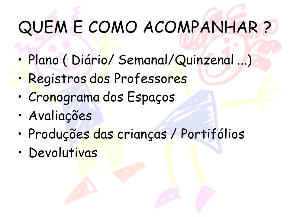 QUEM E COMO ACOMPANHAR Plano ( Diário/ Semanal/Quinzenal ...)