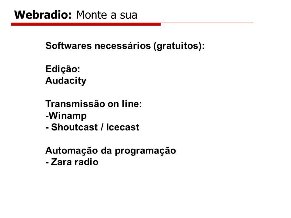 Webradio: Monte a sua Softwares necessários (gratuitos): Edição: