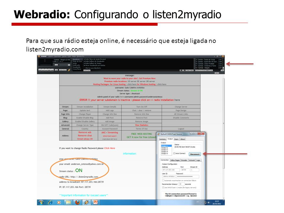 Webradio: Configurando o listen2myradio